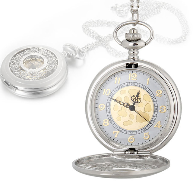 Vintage Large Gold Face Pocket Watch Necklace Women Men Quartz Pocket Watch LXH
