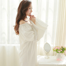 Long-sleeve plus size pure royal wind 100% cotton flare sleeve princess nightgown vintage sexy full dress sleepwear lounge