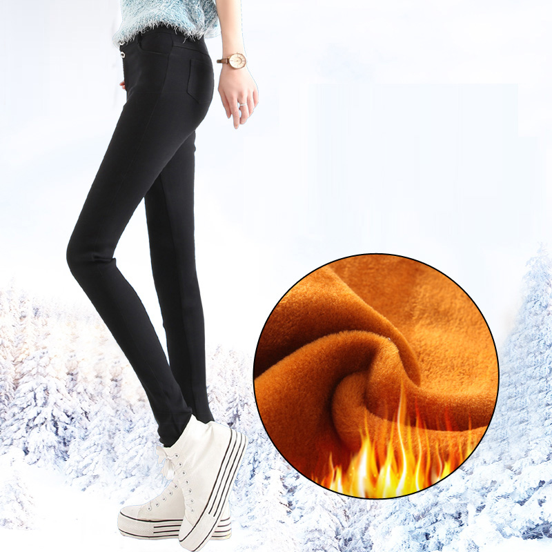 2017 Winter Women Office Thick Warm Fleece pants Stretch black White trousers High Waist slim pencil pants Plus Size Leggings