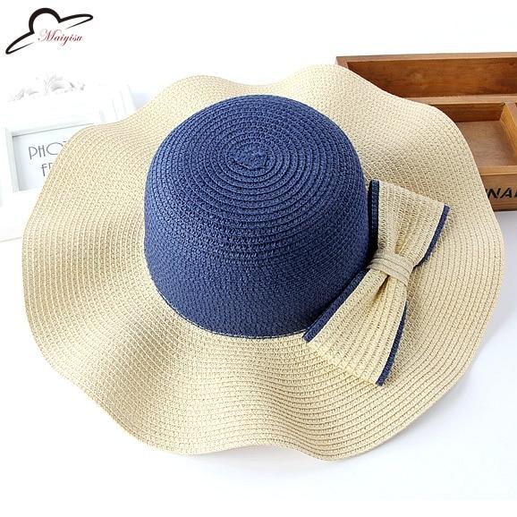 Wanita Matahari Topi untuk Pantai Liburan Musim Panas Perjalanan Solid  Streamer Wanita Topi Jerami untuk Musim Panas Besar Topi di Topi Matahari  Topi dari ... c3237926b7