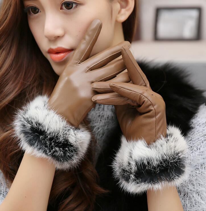 Women's Winter Thicken Fleece Lining Glove Lady's Natural Sheepskin Leather Glove Nautral Rabbit Fur Driving Glove R299