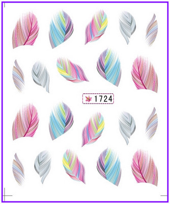 1X  Nail  Feather Sticker   Water Transfer