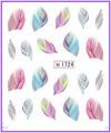 1X etiqueta engomada del clavo de la pluma del penacho Pinna Water transfer pegatinas Nail Stickers Decals agua Decal #1724