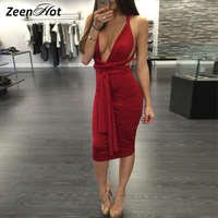 Sexy Deep V Neck Backless Dress Elastic Party Dresses 2016 Sexy Midi Pencil Club Bandage Bodycon