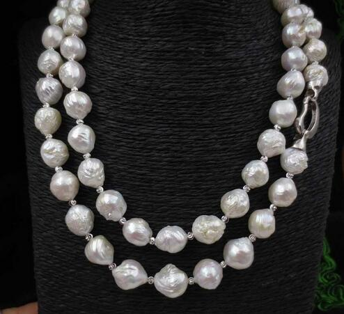 100 cm long 11 - 13 MM white furrow Kasumi pearl necklace>>>  women jewerly Free shipping 100 cm long 11 - 13 MM white furrow Kasumi pearl necklace>>>  women jewerly Free shipping
