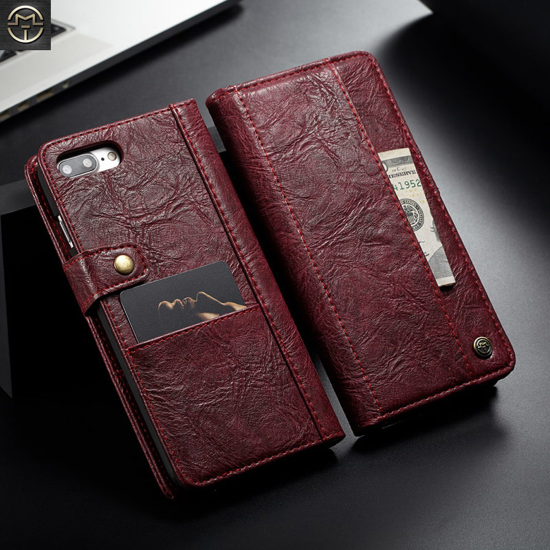 Shockproof Multifunction Wallet Case For Coque iPhone 8 Plus Case For iPhone 8 7 Plus Purse Card Slots Retro Leather Flip Cover