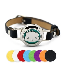 BOFEE Perfume Aromatherapy Bracelet Diffuser Magnetic Cute Cat Stainless Steel Essential Oil Locket 25mm Fashion Jewelry Gift