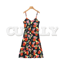 CUERLY women sweet fruit print sleeveless mini dress adjustable strap V neck backless dresses chic A line vestidos chic women s organza print jewel neck sleeveless dress