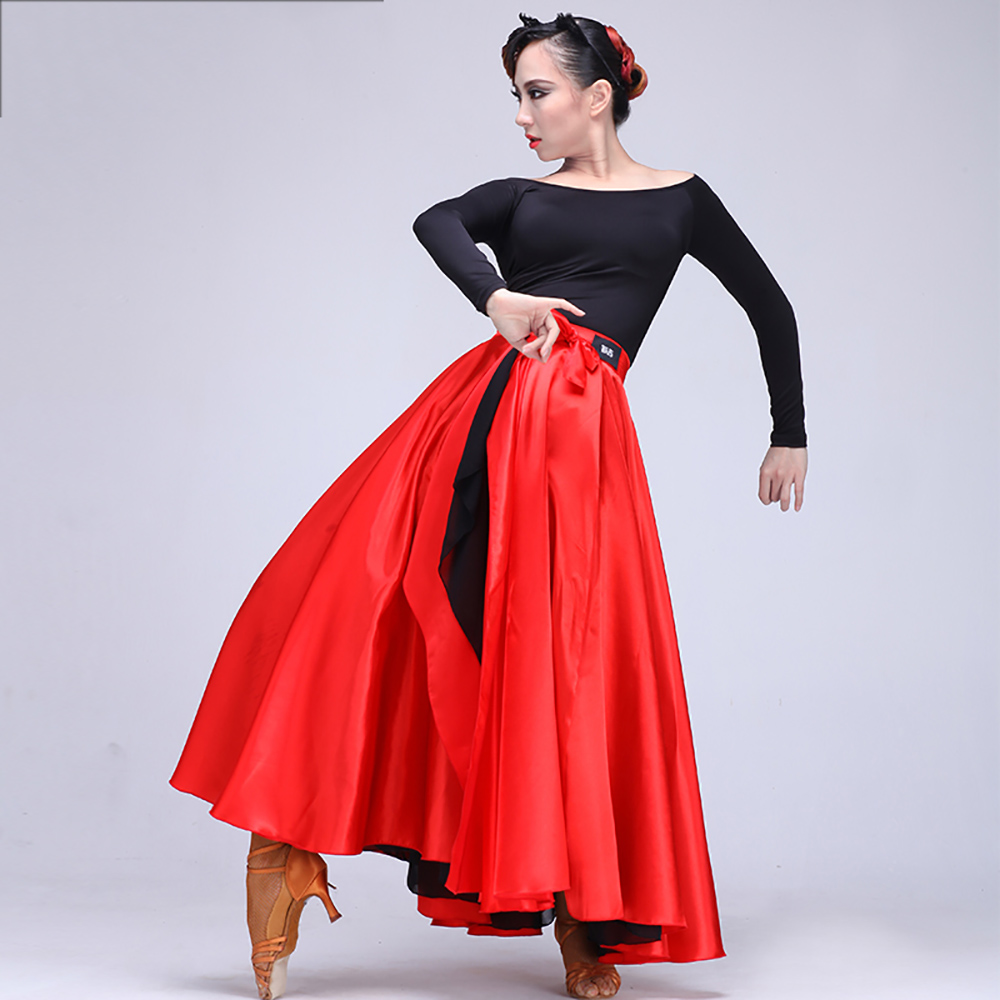 Fantasia Latin Dance Skirts For Ladies Red 360 Degree Clothes Girls Women Feminine Paso Double Bullfight