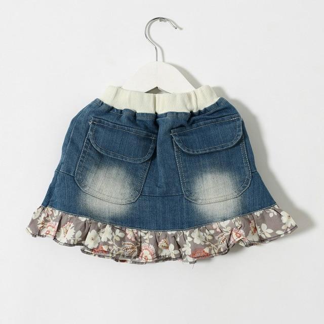 girls flower  denim skirt summer new style fashion beautiful children skirts baby clothing