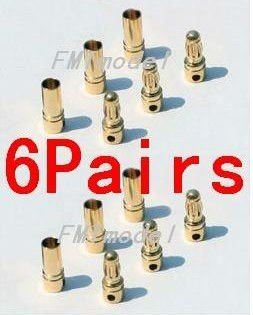 20 pair lot brushless motor high quality banana plug 3 0mm 3mm gold bullet connector plated for esc battery F00149-6 6Pairs Thick Gold Plated 3.5mm Bullet Connector ( banana plug ) for ESC battery