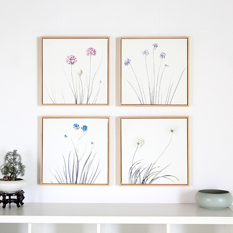 HAOCHU Pastoral Pure Pink Blue Purple Flower The orchid Square Canvas Painting modular Pictures Porch Wall Poster For Home Decor