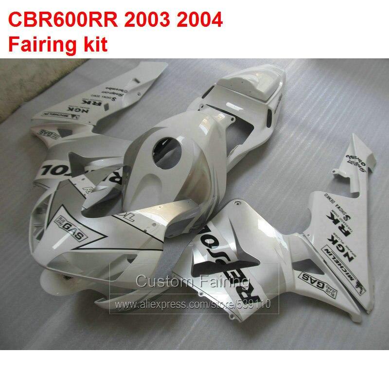 White Fairings For HONDA CBR600RR 03 04 ( INJECTION Motorcyle) sticker fairing kit /xl23