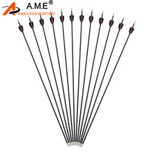 6 Pcs Spine 1000 Archery Shooting Arrow  Mix Carbon Arrows Target Points Fixed For Recurve Compound Bow Hunting