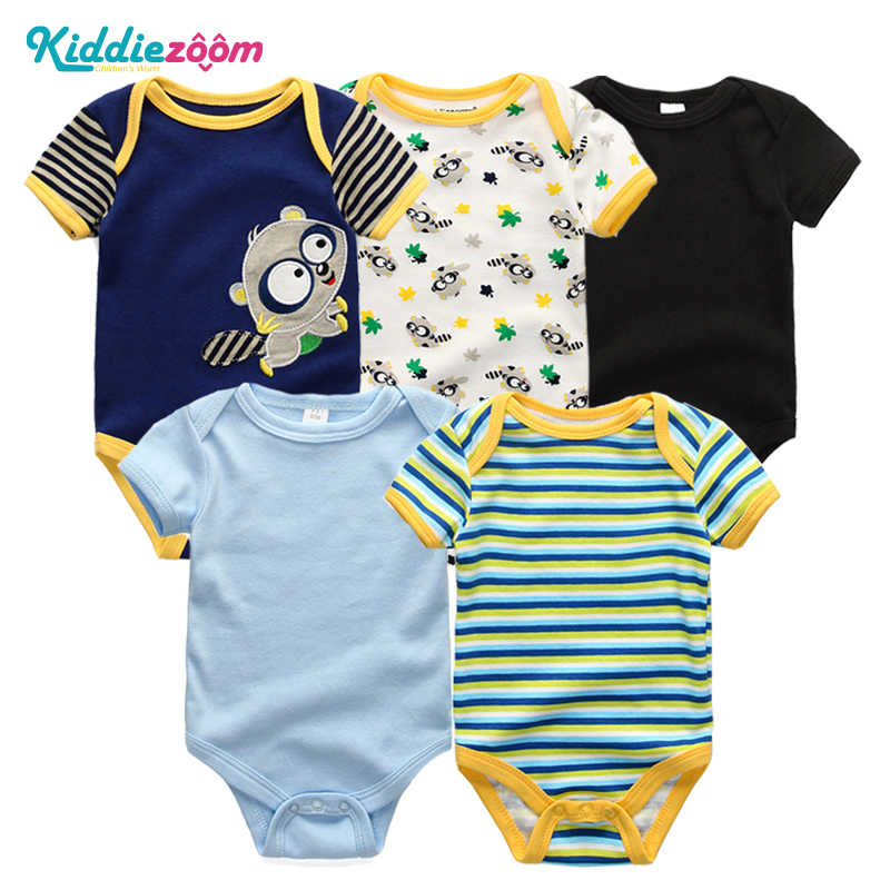 03587c140fa41 Newborn Baby Boy Rompers Unisex 5PCS Infant Clothes Cotton Short Sleeves  Baby Girl Clothing Cute Cartoon