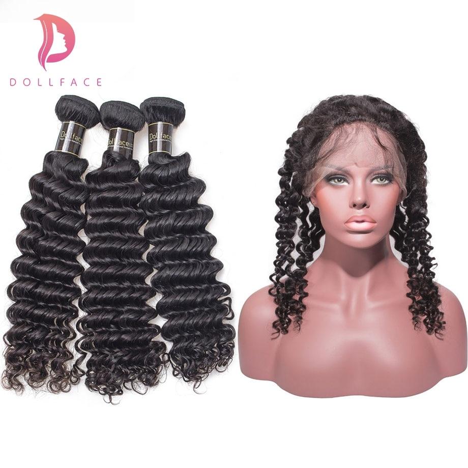 Dollface Brasilianische Tiefe Welle Haar Mit 360 Frontal Verschluss Remy Haar Extensions 3 Menschliches Haar Bundles Mit Verschluss Kostenloser Versand Geschickte Herstellung Haarverlängerung Und Perücken