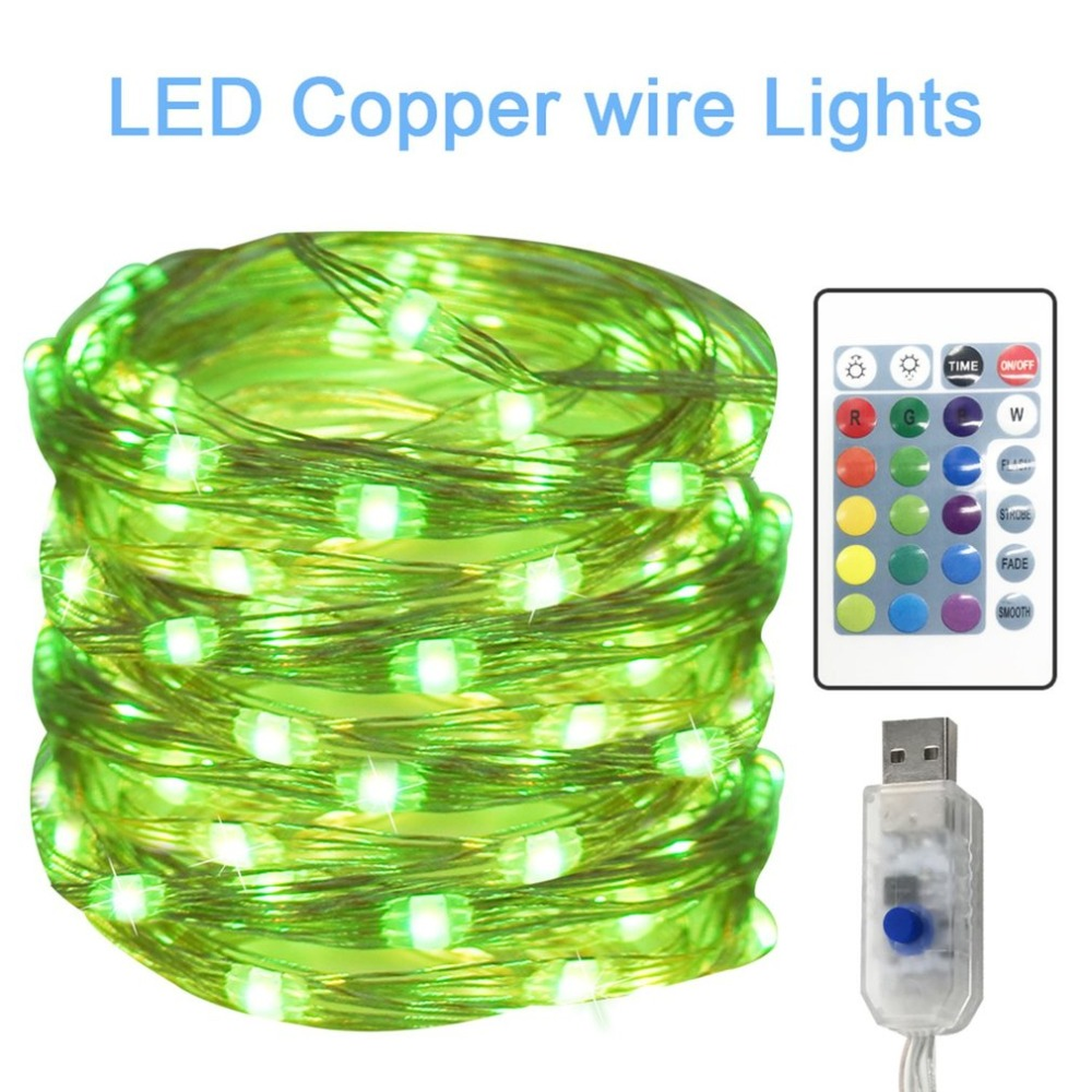 16 Colors RGB 10 Meters USB Power Remote Control 100LED String Light for Outdoor Party W ...