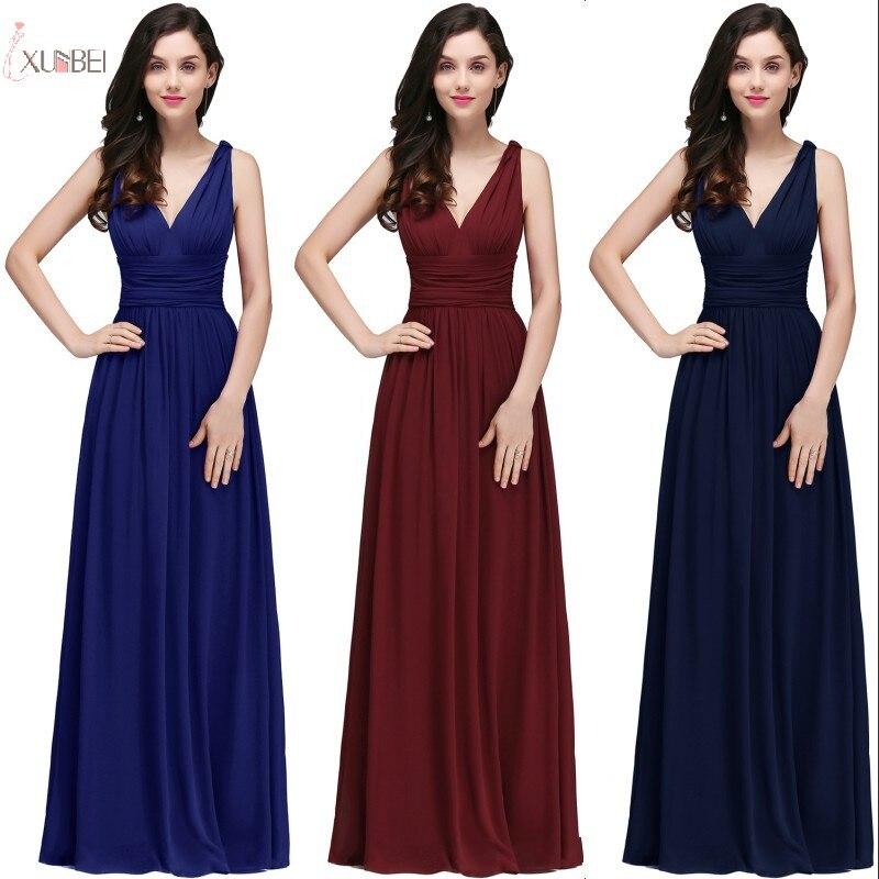 2019 Burgundy Purple Elegant Long   Bridesmaid     Dresses   Chiffon Sleeveless Wedding Party Guest   Dress   robe demoiselle d'honneur