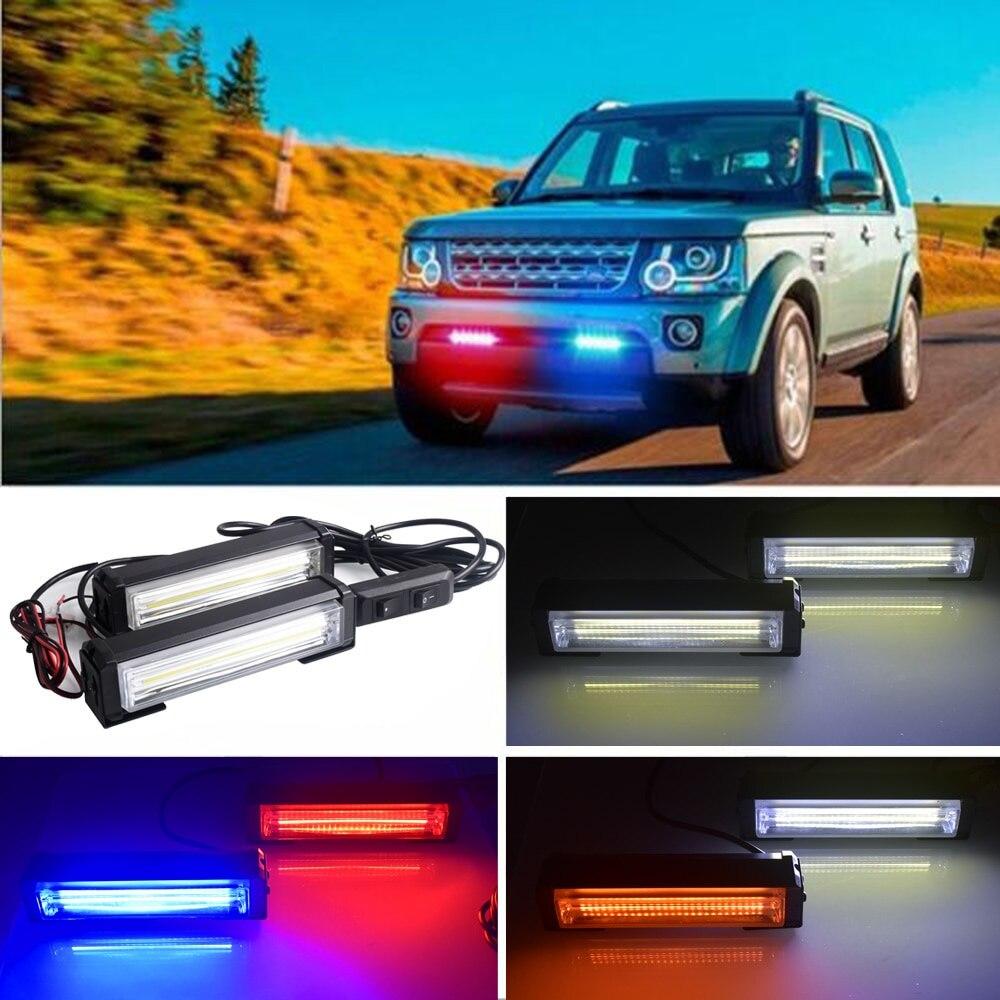 2x DC 12V Car LED Net Light COB Strobe Police Lights One Tow Two Red Blue Yellow White Long Rod Light Car Warning Fog Light
