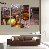 4Panel Canvas Fruit Lemon Wine Glass Picture For Kitchen Living Room Wall Decor Canvas Prints Wall