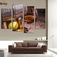 4 Pannello di Tela di Frutta limone Foto Bicchiere di Vino per la Cucina Soggiorno Decorazione Della Parete Stampe Su Tela Dipinti Murali Senza Cornice F18875