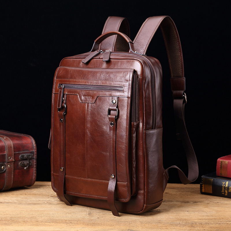 New Genuine leather Men backpack retro casual 15 laptop bags fashion male large capacity travel shoulder bags business New Genuine leather Men backpack retro casual 15 laptop bags fashion male large capacity travel shoulder bags business