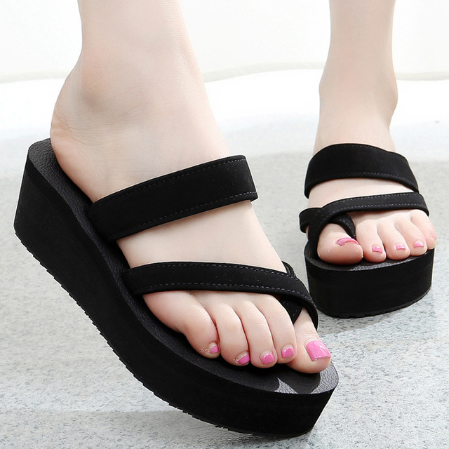 14f1696968b7df Summer Women slippers Suede Leather Thick Soled flip flops Shoes Women  Wedges Slippers Black Platform Slides sandals Ladies
