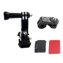 3-Way Pivot Arm Thumb Knob + 1/4 Tripod Mount Adapter Converter Curved Sticky for Gopro 4 3 Xiaomi Xiaoyi F14874-A