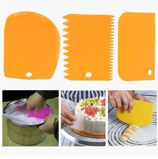 3pc/lot Rondom Color Food Grade Cake Spatula Baking Pastry Tools Plain Smooth Dough Knife Icing Fondant Scraper Jagged Edge genuine baking ingredients crystal bowl cake recipe powder food grade martha phosphorus food additives 1kg