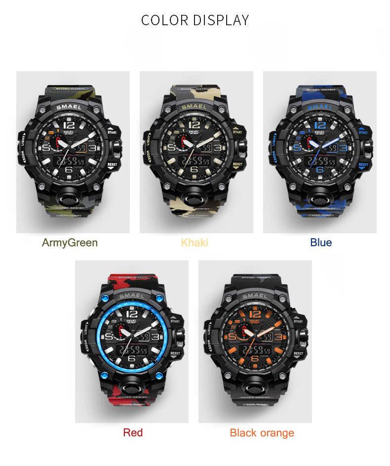 SMAEL موضة الرياضة ساعة الرجال ساعة تنبيه التمويه مقاوم للماء الأسبوع عرض الرجال ساعات ساعة رقمية relogio masculino 1545B