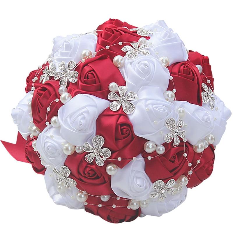 흰 꽃이있는 레드 와인 결혼식을 기다리는 반구 / 신부 들러리 꽃다발 인공 꽃다발 W224-6
