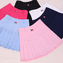 New 2018 College Style Solid Color Skirt women Harajuku Loose High Waist Patch Pink/White/Black/ Sky Blue Pleated Skirt 622#