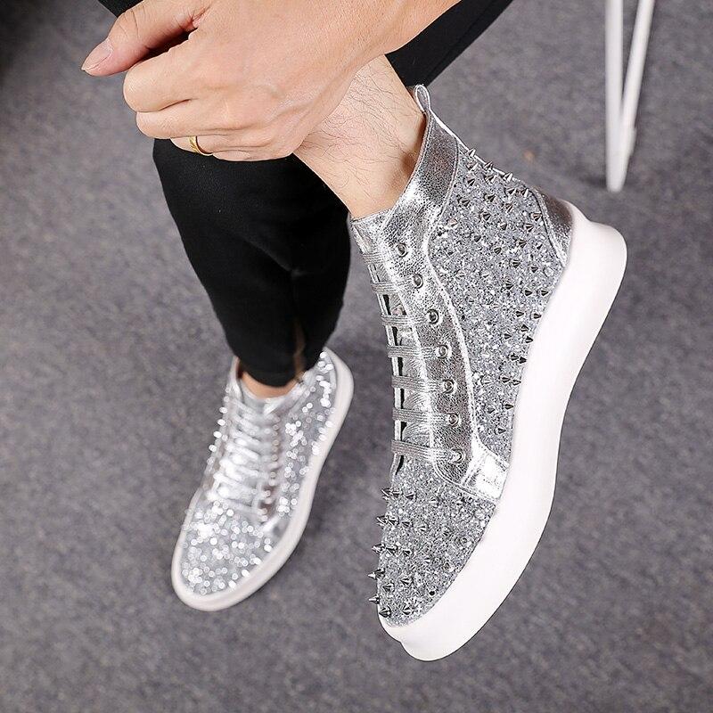 Zapatillas altas para hombre con remaches de plata con cordones para jóvenes Punk Hip Hop-in Zapatos informales de hombre from zapatos    2
