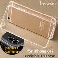 Kasatin i6/7 flexível crystal clear transparente tpu soft case para apple iphone 6/6 s/7 fundas capa de silicone tampa do telefone celular gel case