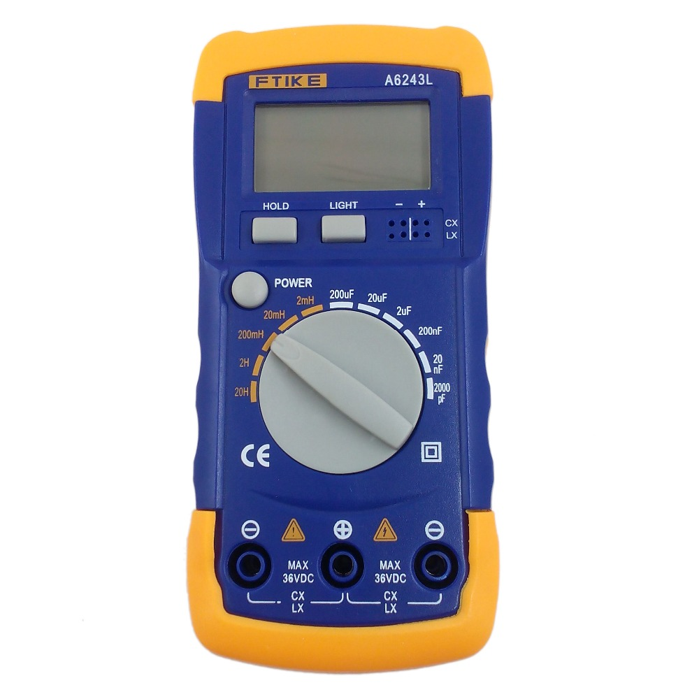 Medidor 2nf-200uf & 2 mh-verificador compatível do medidor 2nf-200uf do indutor do medidor do capacitor do multímetro a6243l 3 1/2 h