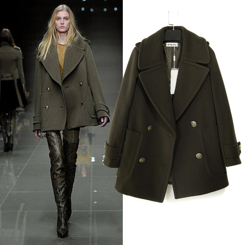 Fall 2013 Luxury Military Style Fur Collar Tweed Peacoats Women ...