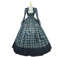 Victorian Civil War Formal Period Ball Gown Reenactment Stage Lolita Dress Costume With Ruffles Decorated And Elegant For Party