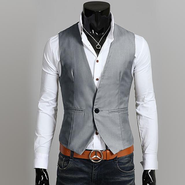 M-2XL chalecos hombre 2016 nova formal coletes à prova de homens one button slim fit sem mangas mens suit vest gilet homme MQ17