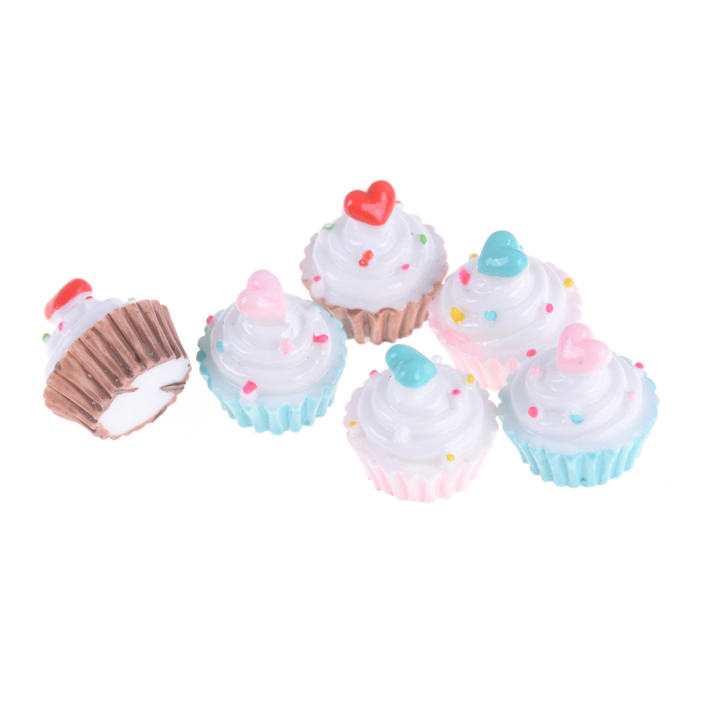 2pcs/lot Heart Love Dolls Miniature Mini Play Food Cake Donuts Candy For   Dolls Kids Pretend Toy
