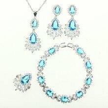 Novia Mujeres 4 UNIDS Sistemas de la Joyería de Plata de Ley 925 Natural de Cristal Azul Circón Collar/Pendiente/Pendientes/Anillo/pulsera Caja de Regalo