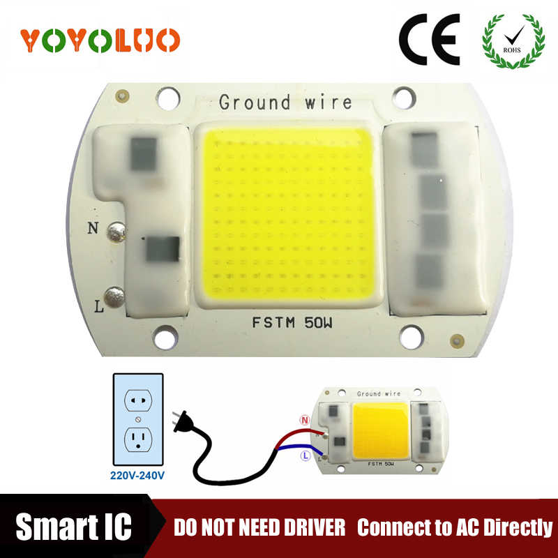 COB LED Lamp Chip 5W 20W 30W 50W LED COB Bulb Lamp 220V 230V  IP65 Smart IC Driver Cold Warm White LED Spotlight Floodlight Chip