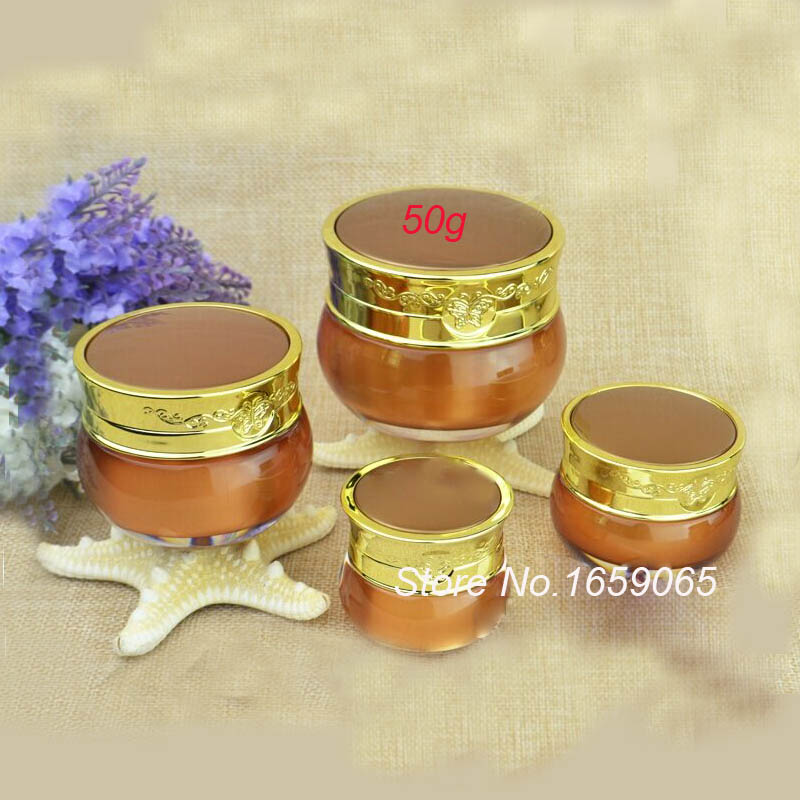 50g ACRYLIC dark gold cream jar with butterfly flower design cream jar Cosmetic Jar Cosm ...