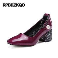 Patent Leather Luxury Ladies Block High Heels Shoes Navy Blue Pumps Glitter Discount Medium Genuine Pearl
