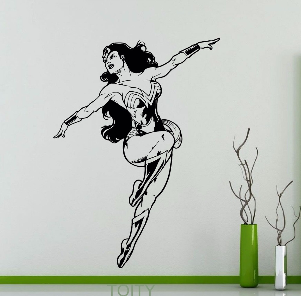 popular superhero mural buy cheap superhero mural lots from china wonder woman poster sticker wall decor dc marvel comics superhero vinyl decal dorm home interior creative