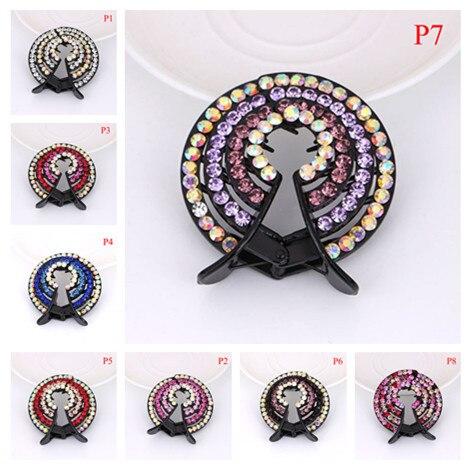 Bird Nest Crystal Hairpin Fashion Ladies Ponytail Hair Clips Pins Hair Bun Holders Women Crystal Hair Accessories 8 Colors