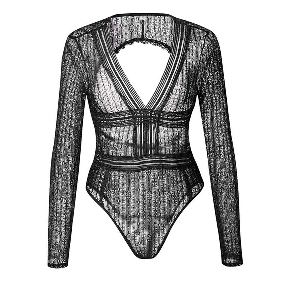 Sexy Mesh See Through Bodysuits Lace Women Vintage Transparent Club Overalls Rompers Hollow Out Backless Bodycon Suits