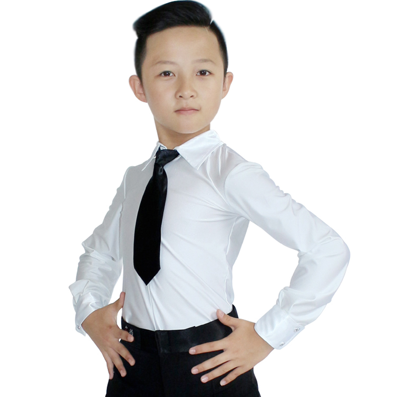 Children Boys New Ballroom Latin Dance Tops Professional Long Sleeves Diamond Practice Clothes Kids Cha Cha Dancing Tops DL4046