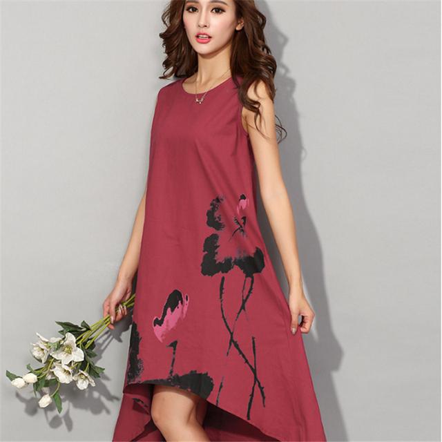 Women Dress 2017 Summer Vintage Sleeveless White Women Dresses Casual Cotton Linen Dress Lotus Printing o-neck DR298