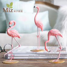 Miz Home 1 Piece Resin Pink Flamingo Decor Figure for Girl Ins Hot Gifts