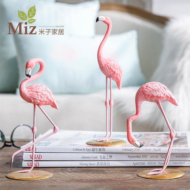 Miz Home 1 Piece Resin Pink Flamingo Decor Figure For Ins Hot